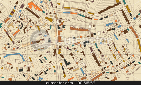 Housing map stock vector clipart, Colorful editable vector illustrated map of housing in a generic town by Robert Adrian Hillman