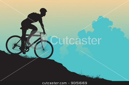 Mountain biker stock vector clipart, Vector foreground silhouette of a man on a mountain bike by Robert Adrian Hillman