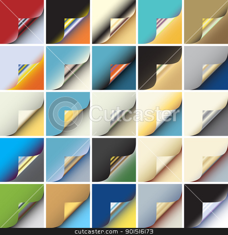 Paper corner stock vector clipart, Set of colorful editable vector peeling corners of paper by Robert Adrian Hillman
