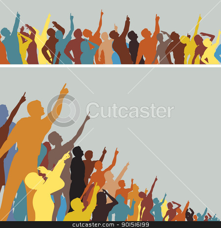 Pointing crowds stock vector clipart, Two colorful editable vector silhouettes of crowds pointing and looking upwards by Robert Adrian Hillman