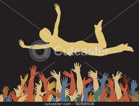 Catching a woman stock vector clipart, Editable vector illustration of a woman being caught by many hands by Robert Adrian Hillman