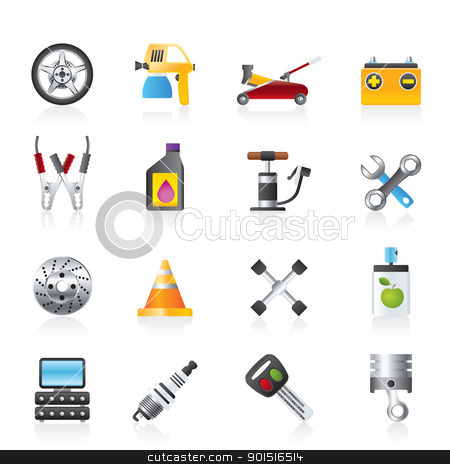 Transportation and car repair icons stock vector clipart, Transportation and car repair icons - vector icon set by Stoyan Haytov