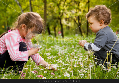 kids picking daisies park stock photo, Two sweet little kids crouching, picking daisies in springtime by vilevi