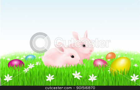 Rabbits and Easter Eggs stock photo, Rabbits and Easter Eggs. Illustration of designer by dvarg