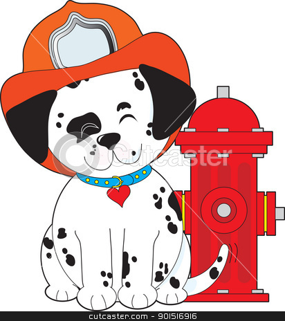 Dalmation Fire Dog stock vector clipart, A smiling Dalmatian pup, sitting close by a red fire hydrant, is wearing a fireman's hat and wagging his tail happily. by Maria Bell