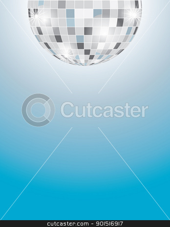 Disco Ball stock vector clipart, A background with a partial image of a disco ball at the top margin, and a graduated blue background filling out the rest of the page. by Maria Bell