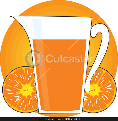 Orange Juice stock vector clipart, A glass pitcher of orange juice, is backstopped by an open faced, halved orange and a golden sun. by Maria Bell