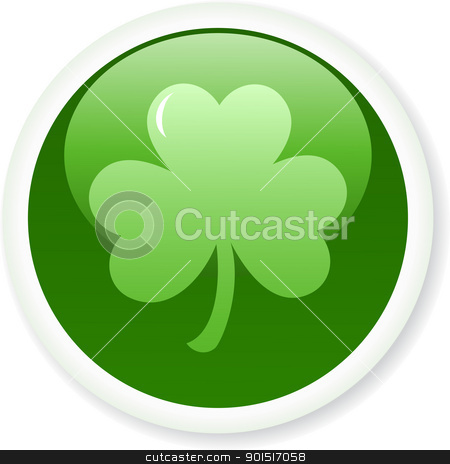 shamrock_button stock vector clipart, Shamrock or clover button. Vector illustration by wingedcats