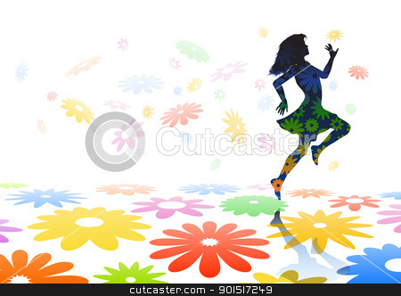 Skipping girl stock vector clipart, Editable vector silhouette of a carefree girl skipping across colorful flowers by Robert Adrian Hillman