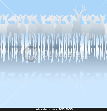 Deer stock vector clipart, Editable vector silhouette of a herd of deer and reflection by Robert Adrian Hillman