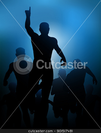 Winner stock vector clipart, Editable vector illustration of a man celebrating winning a race, made with a gradient mesh by Robert Adrian Hillman