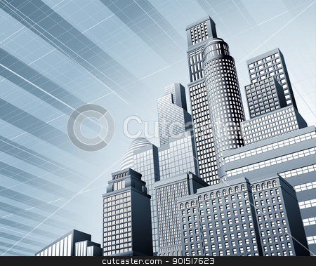 Urban city business background stock vector clipart, Abstract blue corporate city skyscraper business background by Christos Georghiou