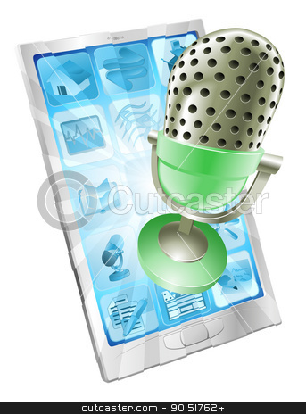 Microphone phone app concept stock vector clipart, A microphone flying out of phone screen. Concept for anything relating to online or computer recordings or music by Christos Georghiou