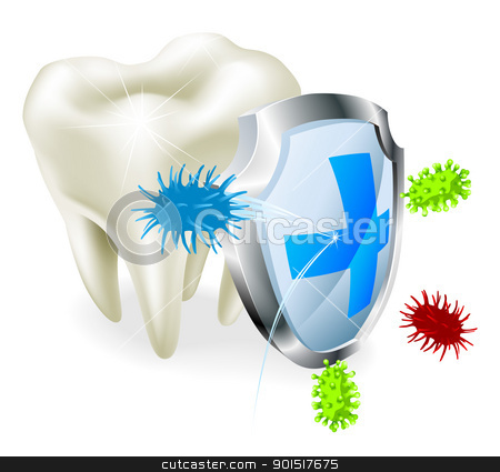 Tooth and shield concept stock vector clipart, A tooth being protected from decay or bacteria by a shield  by Christos Georghiou