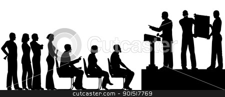 Auction stock vector clipart, Editable vector silhouettes of people at an art auction by Robert Adrian Hillman