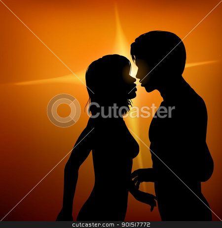 Kiss stock vector clipart, Editable vector silhouette of two young lovers about to kiss with background made with a gradient mesh by Robert Adrian Hillman