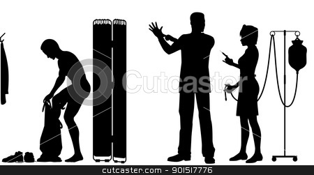 Medical examination stock vector clipart, Editable vector silhouettes of a nurse and doctor about to exam a patient by Robert Adrian Hillman