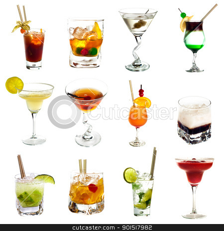 Cocktail collection stock photo, Set of different alcoholic cocktails isolated on white background by borojoint