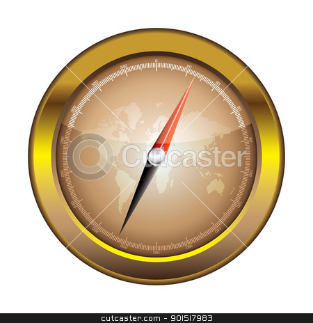 Compass icon retro stock vector clipart, Gold retro compass with world and light reflection illustration by Michael Travers