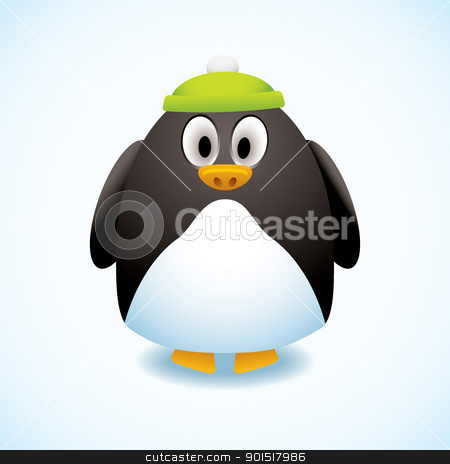 Cartoon penguin hat stock vector clipart, Cute cartoon penguin with green bobble hat and snow background by Michael Travers