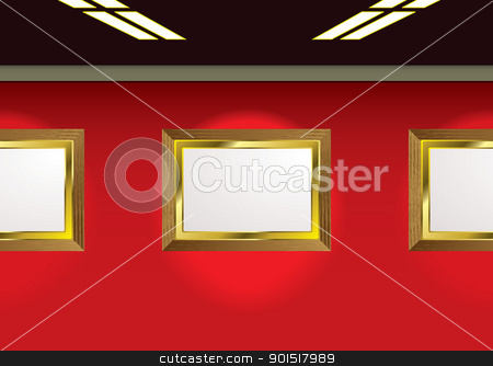 Gallery photo frames stock vector clipart, Picture gallery ready for your own images and red background by Michael Travers