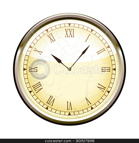 Roman clock stock vector clipart, Old fashioned clock with roman numerals by Michael Travers