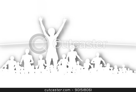 Champ cutout stock vector clipart, Editable vector cutout illustration of a woman winning a race with background shadow made using a gradient mesh by Robert Adrian Hillman