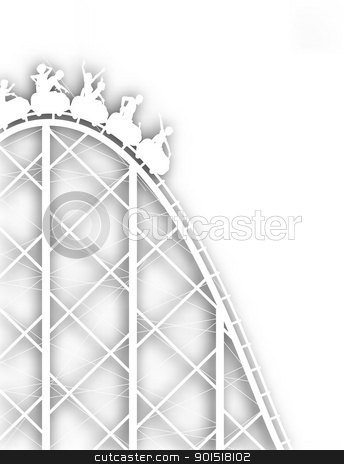 Rollercoaster cutout stock vector clipart, Editable vector cutout silhouette of a steep rollercoaster ride with background shadow made using a gradient mesh by Robert Adrian Hillman