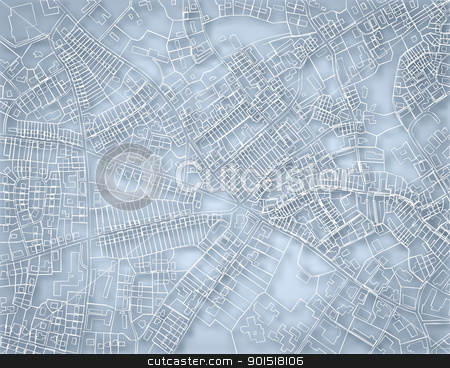 Rough blue map stock vector clipart, Editable vector blueprint sketch of a detailed generic street map without names with background made using a gradient mesh by Robert Adrian Hillman