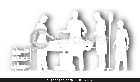 Surgery cutout stock vector clipart, Editable vector cutout illustration of surgery in an operating theater with background shadow made using a gradient mesh by Robert Adrian Hillman