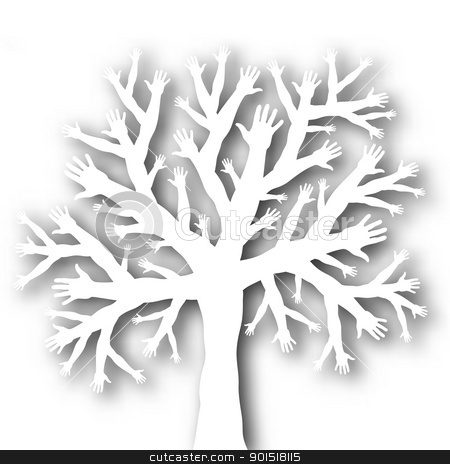 Tree of hands stock vector clipart, Editable vector cutout of a tree with branches and roots made of hands with background shadow made using a gradient mesh by Robert Adrian Hillman