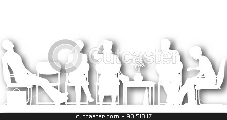 Waiting room cutout stock vector clipart, Editable vector cutout silhouettes of people sitting in a waiting room with background shadow made using a gradient mesh by Robert Adrian Hillman