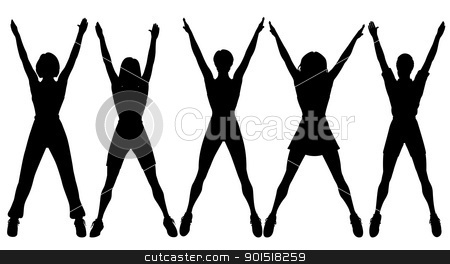 Aerobics stock vector clipart, Editable vector silhouettes of five women doing aerobic exercise together by Robert Adrian Hillman