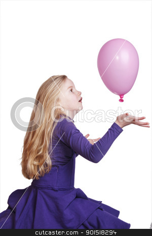 young girl with pink balloon stock photo, young girl in purple dress with pink balloon on white background by anton havelaar