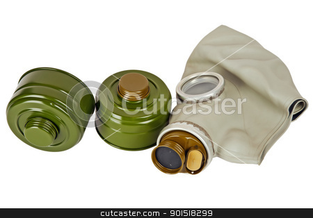 gas mask and two absorbers stock photo, old military gas mask and two new filters by marekusz