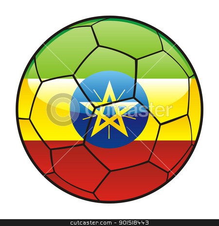 Ethiopia flag on soccer ball stock vector clipart, vector illustration of Ethiopia flag on soccer ball by pilgrim.artworks