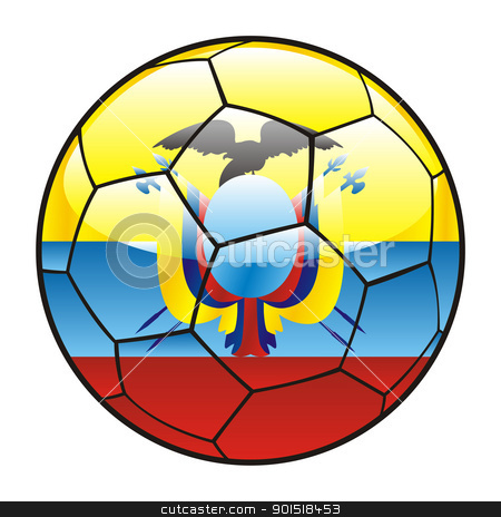 Ecuador flag on soccer ball stock vector clipart, vector illustration of Ecuador flag on soccer ball by pilgrim.artworks