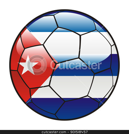 Cuba flag on soccer ball stock vector clipart, vector illustration of Cuba flag on soccer ball by pilgrim.artworks