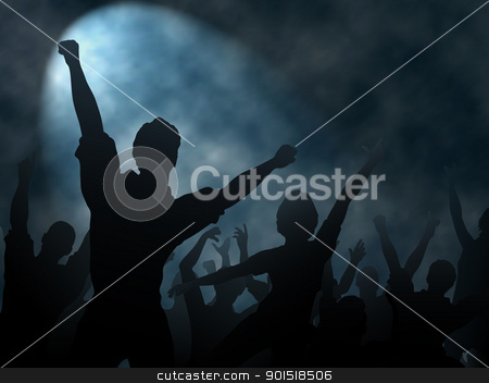 Spotlight stock vector clipart, Editable vector silhouettes of people cheering or celebrating under a smoky spotlight with background made using a gradient mesh by Robert Adrian Hillman