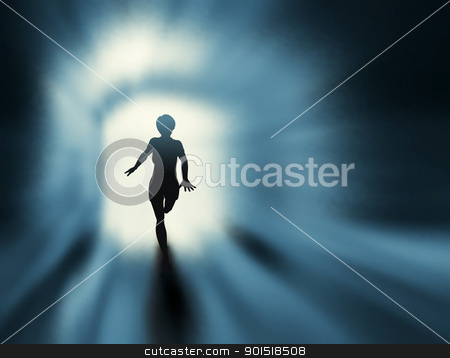 Tunnel run stock vector clipart, Editable vector silhouette of a woman running in a tunnel with background made using a gradient mesh by Robert Adrian Hillman