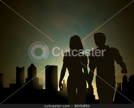 Dawn city stock vector clipart, Editable vector silhouette of a couple walking in a city at dawn or dusk with sky made using a gradient mesh by Robert Adrian Hillman