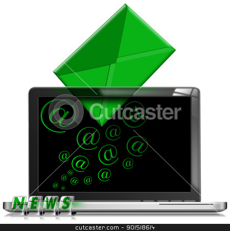 Laptop Email Newsletter Concept stock photo, E-mail newsletter marketing concept with modern laptop on white background  by catalby