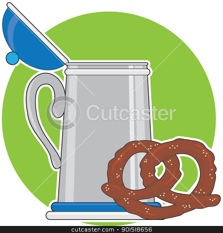 Beer and Pretzel stock vector clipart, A beer stein and a salted pretzel, sitting on a green background. by Maria Bell