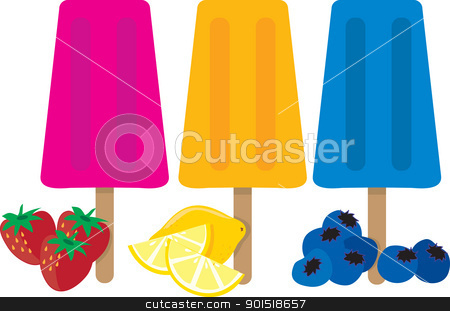 Popsicles stock vector clipart, Three colorful popsicles and the types of fruit associated with each color. by Maria Bell