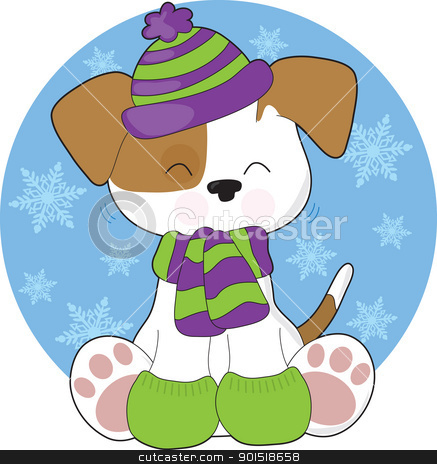 Cute Puppy Winter stock vector clipart, A cute, shaking puppy wearing a toque, scarf and mitts, sits in front of a circular blue background filled with snowflakes. by Maria Bell