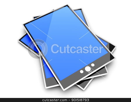 Tablet PCs stock photo, A group of Tablet PCs / Pads. 3D rendered illustration. Isolated on white. by Michael Osterrieder
