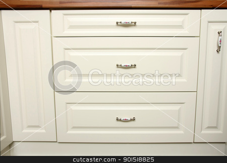 Shot of kitchen worktop and drawer stock photo, Details of close up shot of kitchen worktop and drawer by vladacanon1