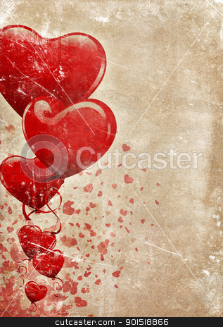 Happy Valentines! stock photo, Heart-shaped baloons and confettis on a grunge old paper background with lots of copyspace for your text by HypnoCreative