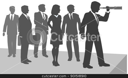 Business person see new opportunity telescope stock vector clipart, Business person uses telescope to search for new opportunity to explore ahead by Michael Brown