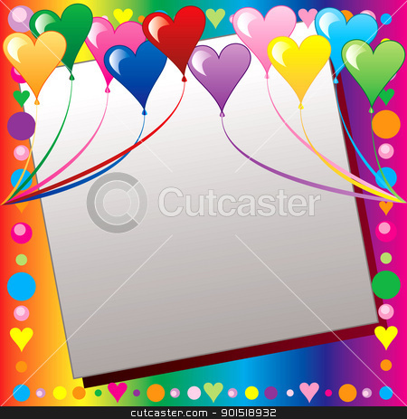 Heart Balloon Template stock vector clipart, Vector Illustration can be used as a book cover, card or anything you choose. There is room for your text. by Basheera Hassanali